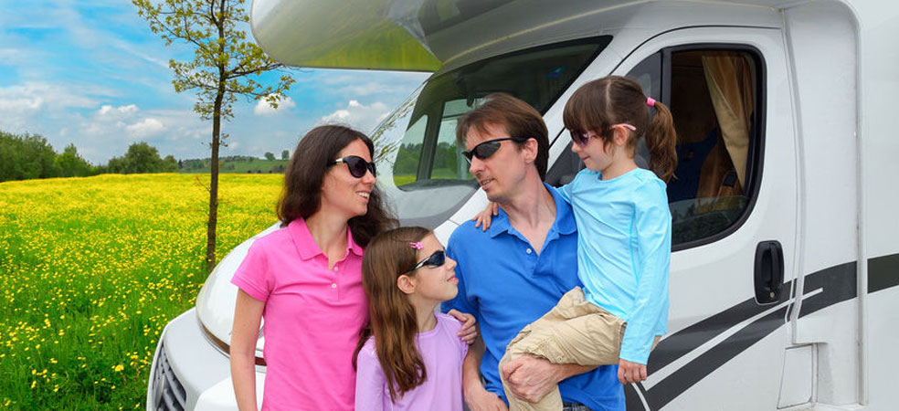 Family with motorhome